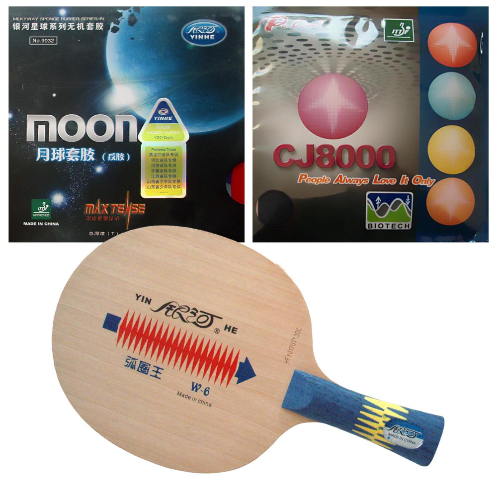 Combo Racket Galaxy YINHE W-6 with Moon Factory Tuned and Palio CJ8000 BIOTECH Shakehand Long Handle FL galaxy yinhe emery paper racket ep 150 sandpaper table tennis paddle long shakehand st