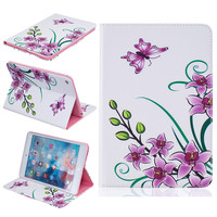 For iPad Mini 4 Case Flower Magnetic PU Leather Case Cover With Photo Frame Card Slots Stand Holder For Apple mini4 Cases