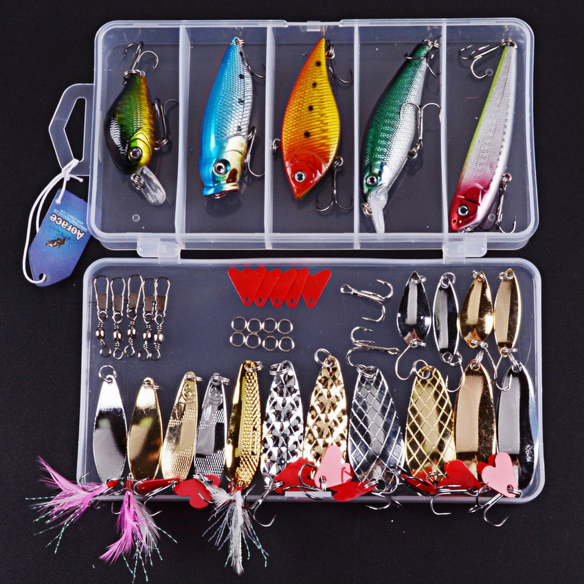 Fishing Lure 40pcs Mixed Minnow/Popper Spinner Spoon Metal VIB Lure Hooks Crankbait Artificial Bait Fishing Lure Kit Set Pesca чайник philips hd 9302 21