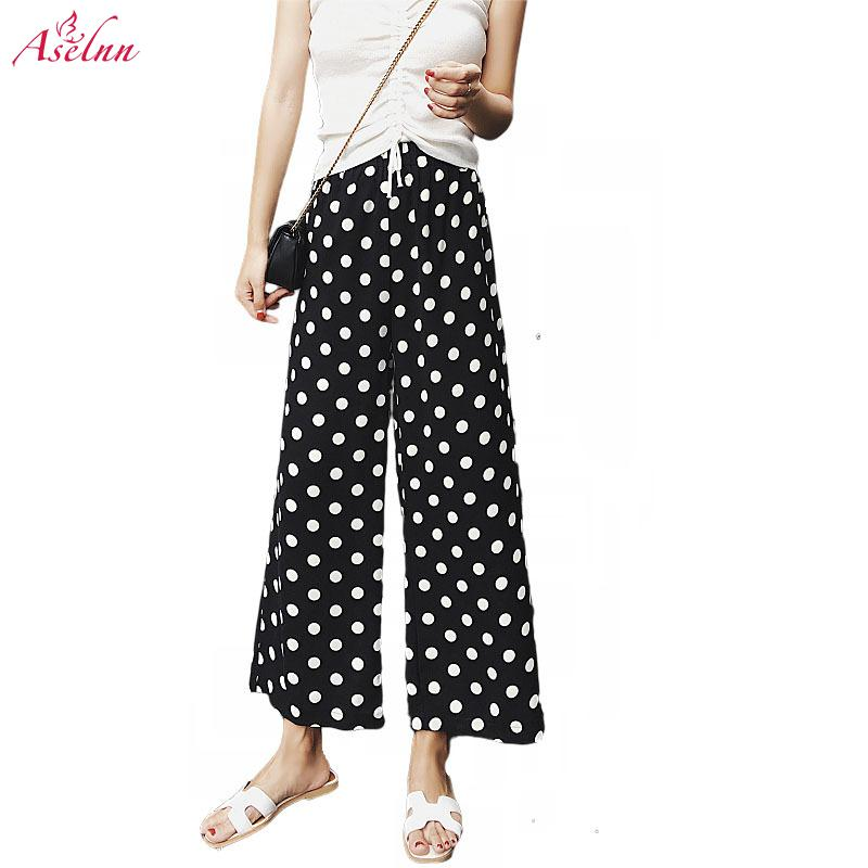 Aselnn Dot Printed Wide Leg Pants Casual Summer Loose High Waist Chiffon Trousers Women Clothes 2019 Female Trousers Streetwear