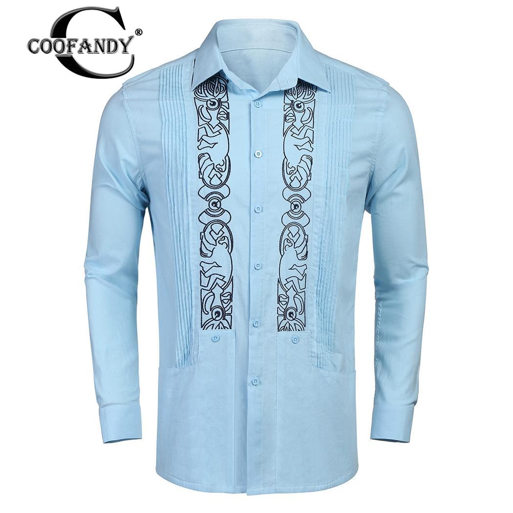 1fe1cc32c8a69 COOFANDY Gömlek Kol Düğmesi Yaka Guayabera Turn-aşağı Erkekler Rahat Uzun  Nakış - a.spelacasino.me