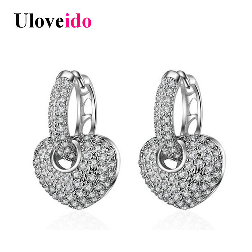 Uloveido Heart Earrings for Women Earings with Stones Silver Color Detachable Earring Woman 2017 Wedding Jewelry 15% Off EH195