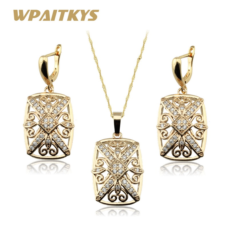 White Cubic Zirconia Gold Color Necklace Pendant Earrings Jewelry Sets For Women  Free Gift Box WPAITKYS