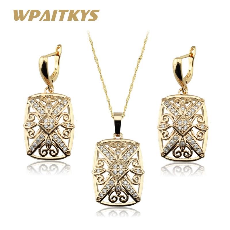 თეთრი კუბური ცირკონიას ოქროს ფერი ყელსაბამი, საყურეები სამკაულები კომპლექტი ქალებისთვის უფასო საჩუქრის ყუთი WPAITKYS