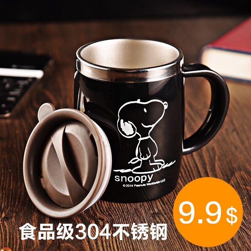 Snoopy 420 ml Bevanda di Caffè Tazza Da Tè di Acqua Boccetta Bicchiere D'acqua In Acciaio Inox Ufficio Con Coperchio Nero Mu