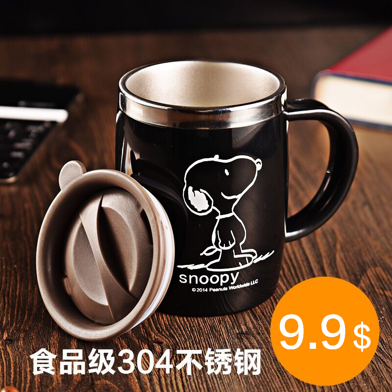 Snoopy 420ml Coffee Teacup Drink Flask Water Tumbler Office With Cover Black Stainless Steel Water Mu