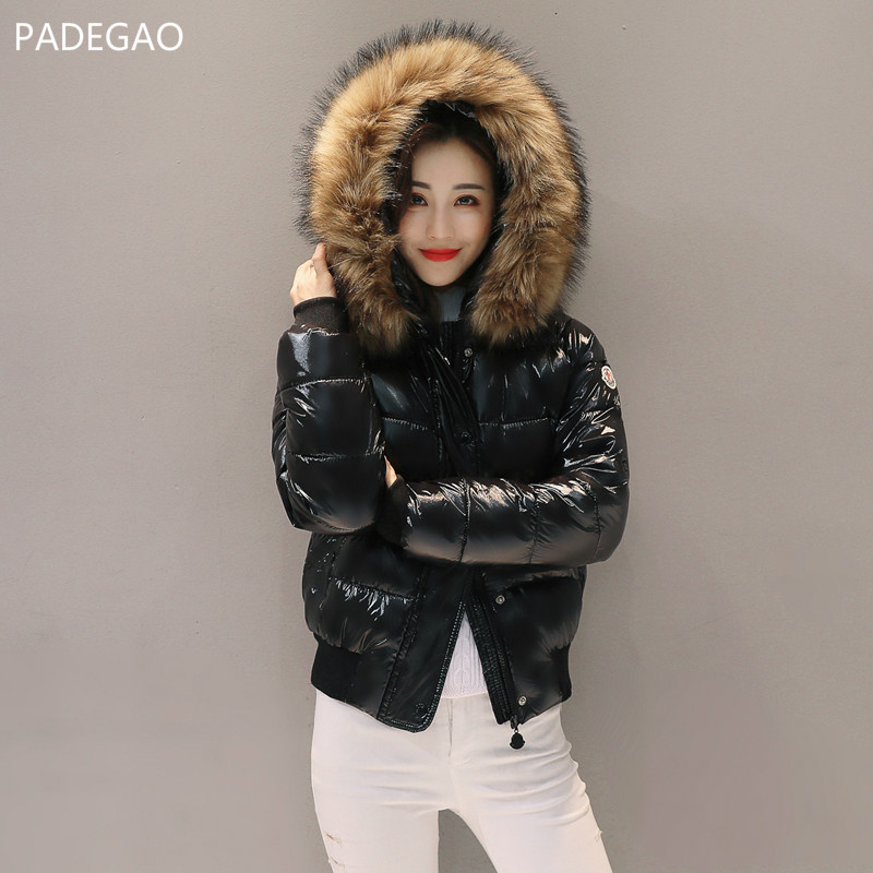 Winter New Bright Surface Down Cotton Padded Short Women Coat Quilted Coat Thick Female Parkas Hooded Large Fur Collar Jacket akslxdmmd parkas women winter jacket 2017 new autumn and winter thick padded fur collar hooded short coat female lh998