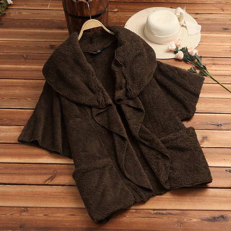 HTB1gF5eX.D1gK0jSZFGq6zd3FXah ZANZEA Women Fluffy Coat Oversized Long Sleeve Jackets Female Button Outwear Winter Warm Poncho Solid Autumn Top Lady Jumpers