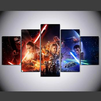 Popular Movie Poster Star Wars 5 panels Wall Art for Living room wall HD Print Picture Modular Battlefield YK-442
