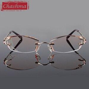 Image 3 - Брендовые очки Chashma, очки без оправы с алмазной отделкой, титановые модные женские очки