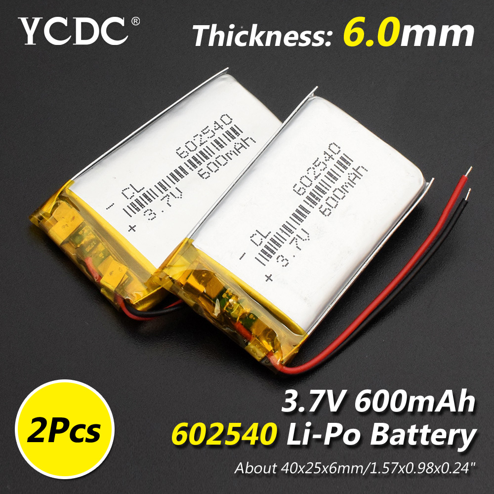 Size <font><b>602540</b></font> 3.7v 600mAh li-ion Lipo cells Lithium Li-Po Polymer Rechargeable <font><b>Battery</b></font> For Bluetooth speaker Tachograph MP4 MP5 image
