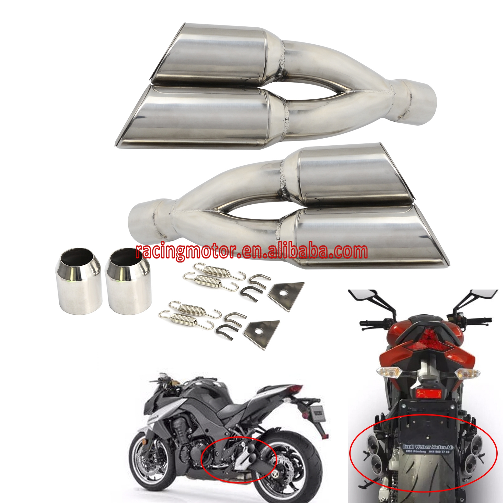 Street Bike Quad: 38 51MM Slip On Universal Dual Exhaust Muffler Vent Pipe