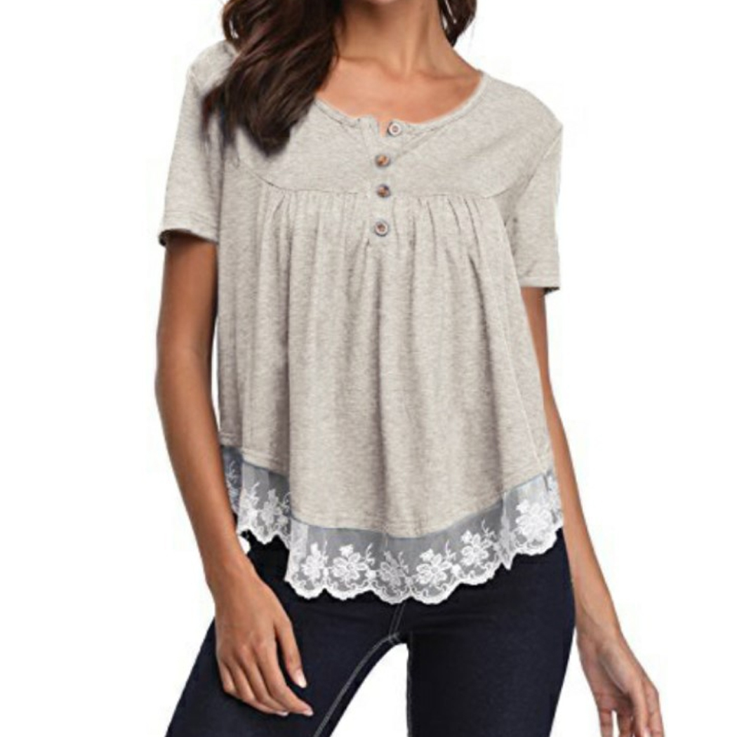 Elegant Lace Splice Lace Blouse Women Tops Plus Size Button Short Sleeve Summer 2018 Casual Ladies Office Shirt Blusa Feminina