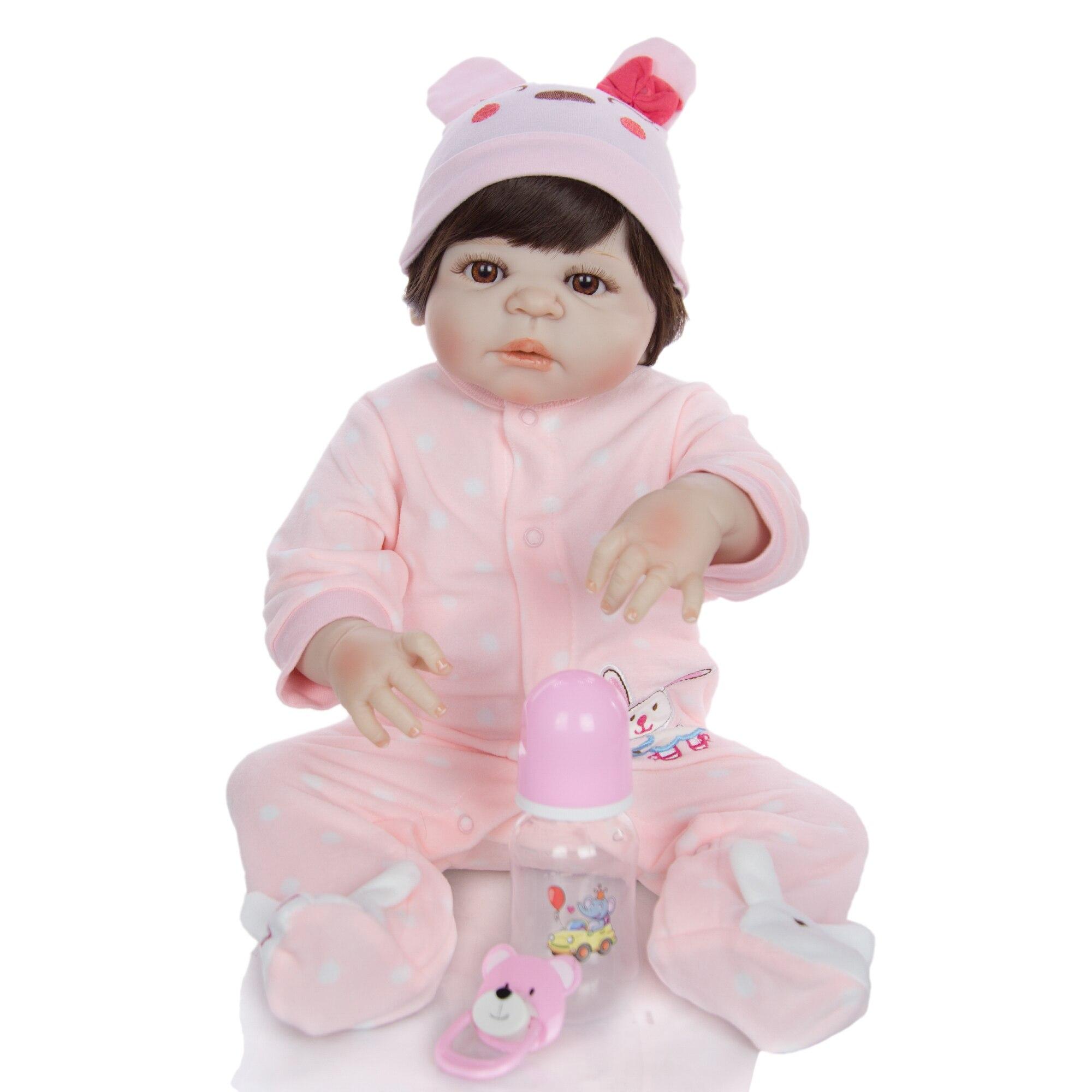 Vinilo completo de silicona para bebés recién nacidos de 23 pulgadas Reborn Boneca 57 Cm para niños pequeños regalo-in Muñecas from Juguetes y pasatiempos    2