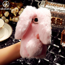 AKABEILA Case Soft TPU For Samsung Galaxy J2 Prime Cases Rabbit Fur Fluffy For Samsung Grand Prime Plus Silicone Cover(China)
