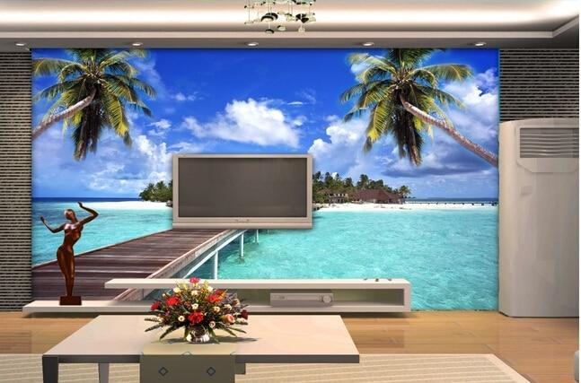 Encargo paisaje mural de la pared playa vistas al mar - Tv en la pared ...