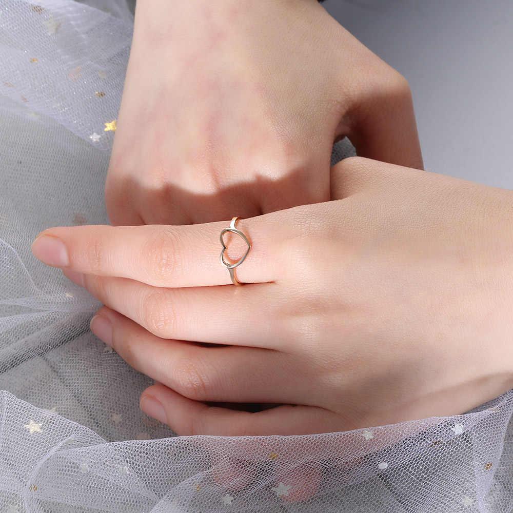 ส่วนบุคคลการปรับแต่ง 2019 ใหม่แฟชั่น Rose Gold สี Sliver รูปหัวใจงานแต่งงานแหวนสำหรับหญิงสาว Gifs Dropshipping