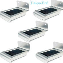 5 Pack!UniqueFire 16 LED Solar Power Sensor Lamp Sound/Motion Detect Garden Security Light Outdoor Waterproof Warm White Light