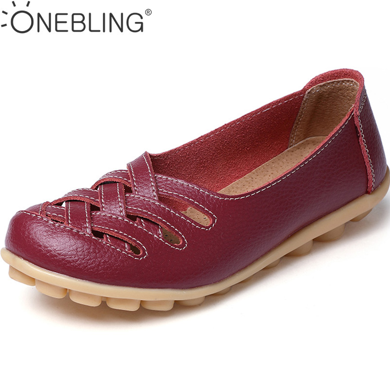 082d2d301b7 Buy Discounts 2017 Fashion Genuine Leather Casual Loafers Shoes Women  Sandals Summer Shoes Flats with Hollow Out Size 34 44 Online