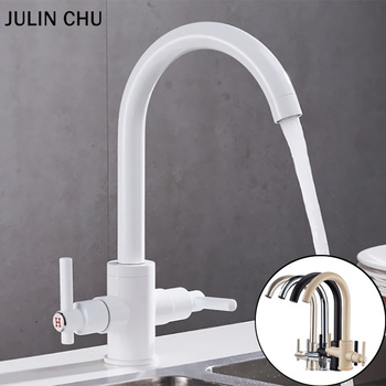 Black Kitchen Faucet Brushed Double Handle Hot and Cold Water Mixer Tap Polished Chrome Beige White Kitchen Sink Faucets Brass