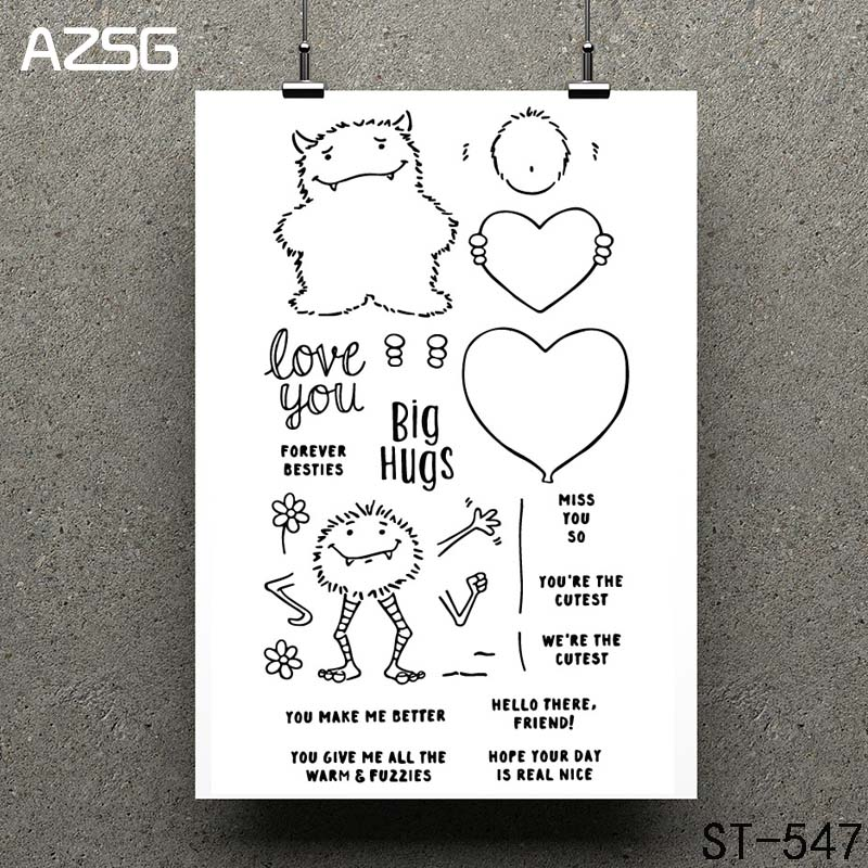 AZSG Cute little monster Clear Stamps/seal for DIY Scrapbooking/Card Making/Photo Album Decoration Supplies
