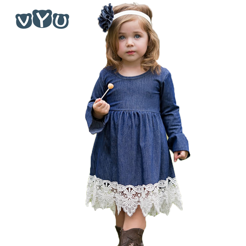 Girls Princess Dress Children Clothing Denim Lace Evening Dress Kids Autumn Long Sleeve Party Dresses Baby Girl Costume high quality girls baby bright leaf long sleeve lace dress princess bud silk dresses children s clothing wholesale