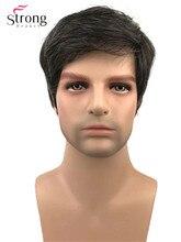 Strong beauty, perruque complète synthétique courte pour hommes, perruque mélangée noire et grise