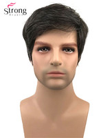 StrongBeauty Short Full Wigs Synthetic Wig for Men Black mix Gray
