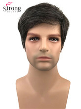 Strongbeauty curto perucas completas peruca sintética para homem preto mix cinza