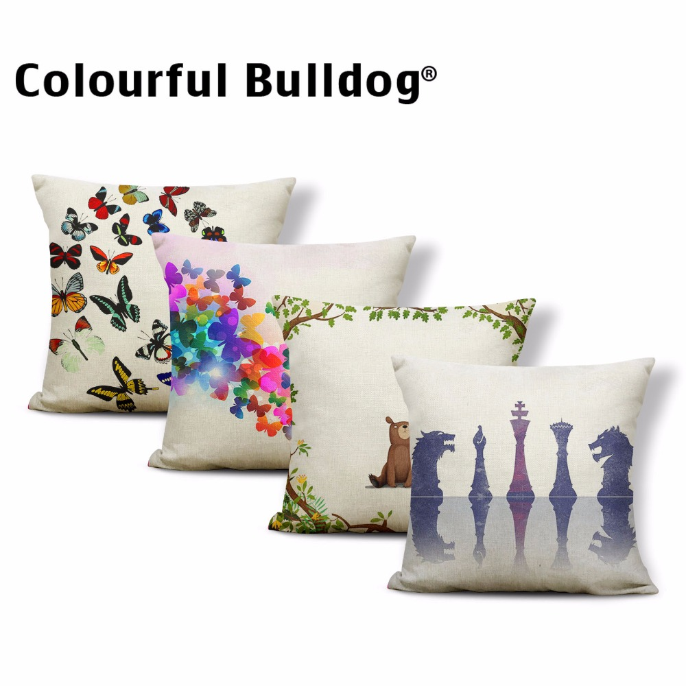Lovely Animals Water Butterfly Rabbit Bear Black Cat 17In Cushion Cover Children Room Decoration Throw Pillow Cases Grass Letter
