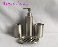 304 stainless steel bathroom 4pcs set of lotion bottle toothbrush holder mug cup soap box Bathroom sets