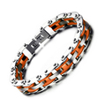 New Brand Masculine Motorcycling Bracelet For Men Trendy Orange Charms Bracelets & Bangles Spike Link Chain Jewelry Top Quality