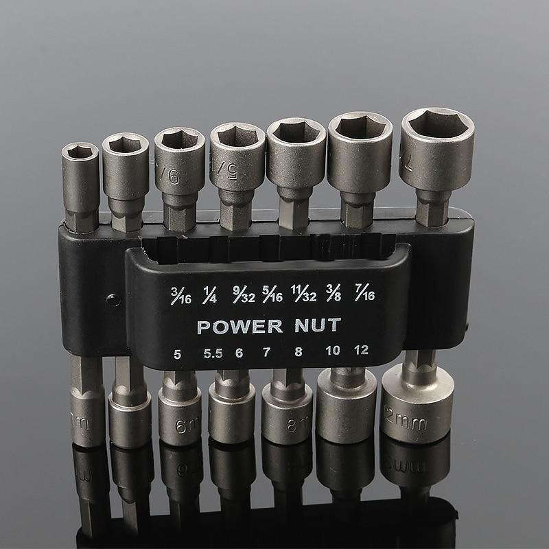 цена на 14pcs Pneumatic Strong Power Nut Driver Drill Bit Set 1/4 Hex Shank SAE Metric Socket Wrench Screw One-piece Hand Tool Kit