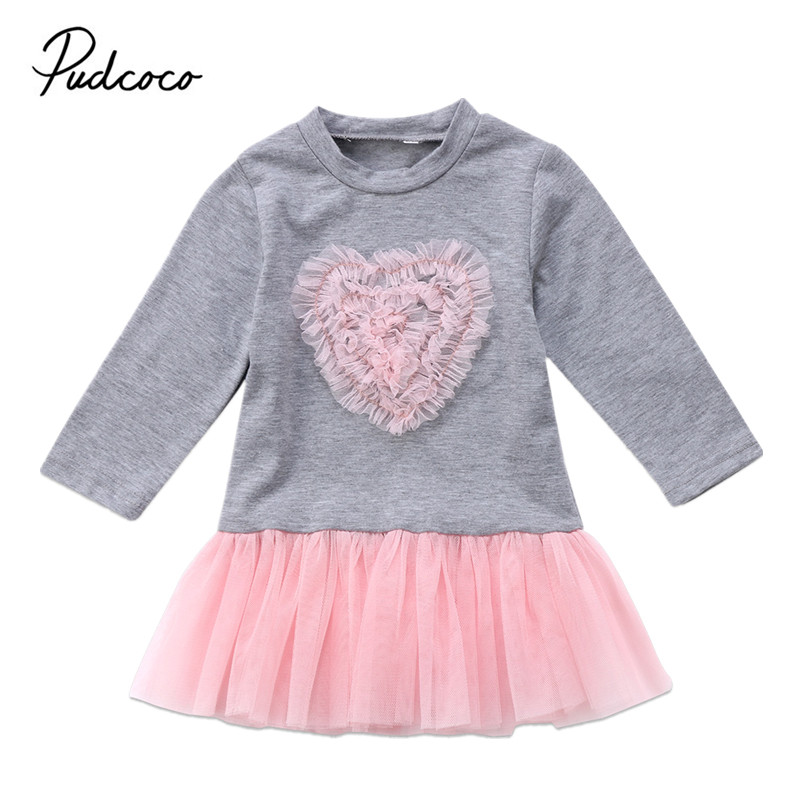 Christmas Dress Toddler Kids Baby Girls Dresses Long Sleeve Lace Tutu Tulle Floral Dress Outfits Clothes 2017 cute children girls cotton dress long sleeve print tutu party dresses toddler kids clothes outfits 1 5y