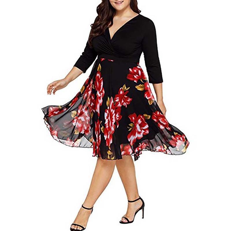 100% QualitäT Neue Frauen V-ausschnitt Setzen Drei Viertel Sleeve Digital Print Falbala Kleid Modische Heißer Verkauf Schlanke Taille Plus Größe Flare Kleid