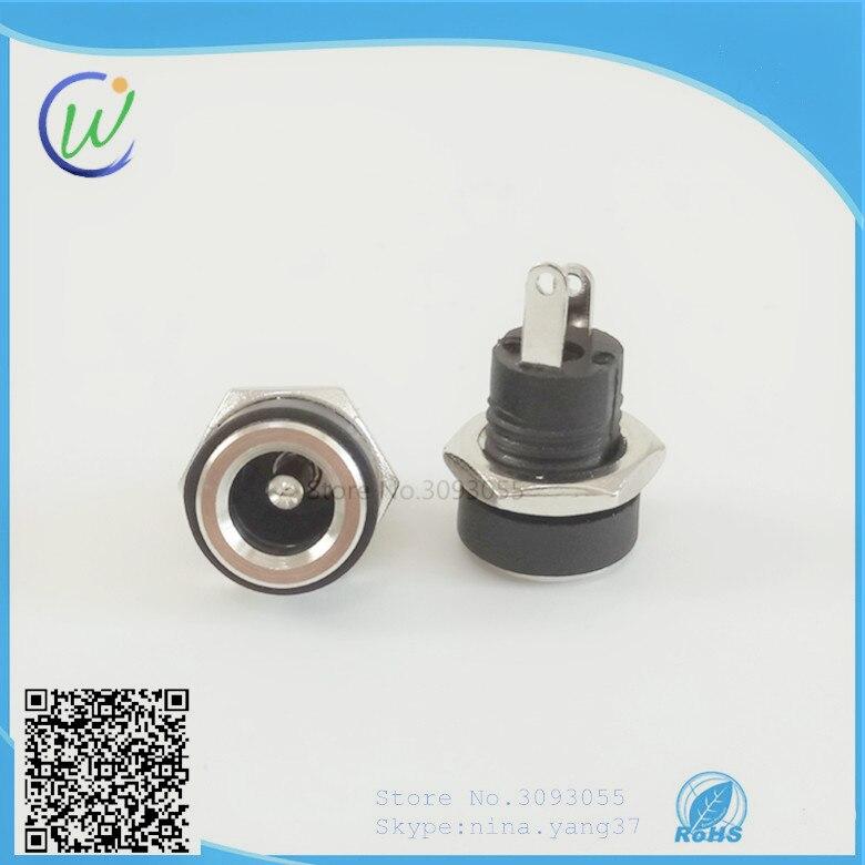 20 шт., розетка постоянного тока DC002B 5,5*2,1 мм, разъем с гайками, 2 контакта, пайка ROHS