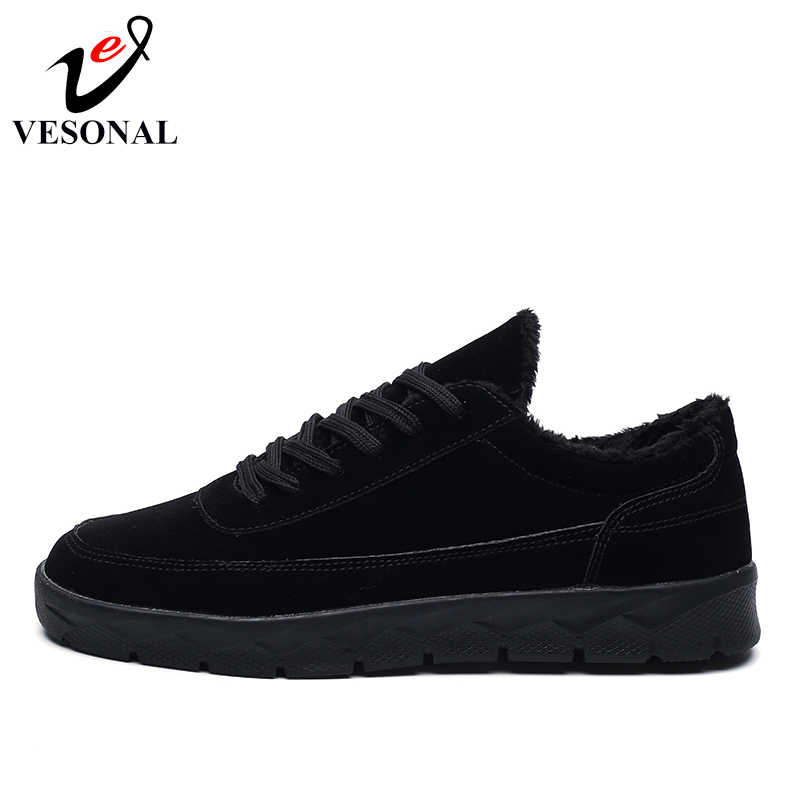 26ba03297ff ... VESONAL Brand Leather Sneakers Male For Men Shoes Adult 2018 Winter  Warm Fur Comfortable Short Plush