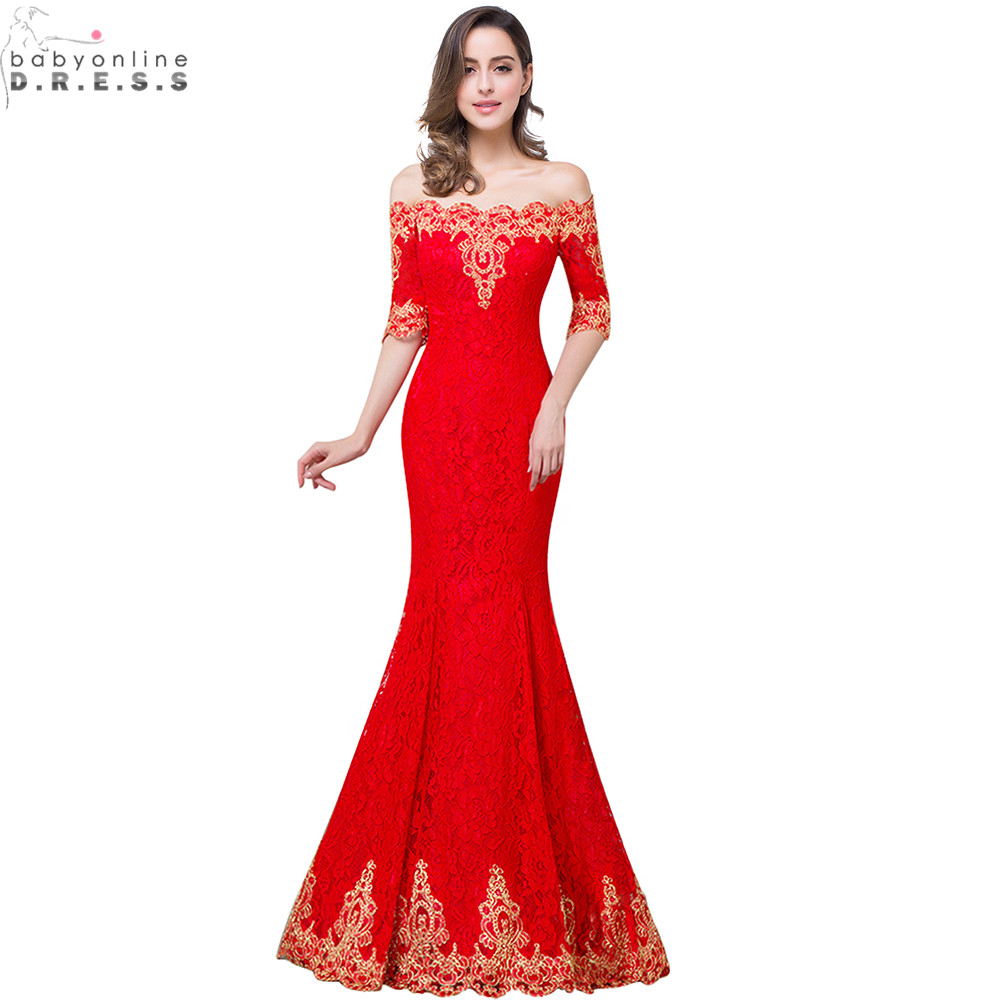 Hot Sale Gold Lace Appliques Red Mermaid Prom Dresses Long Cheap Lace Half Sleeve Prom Dress