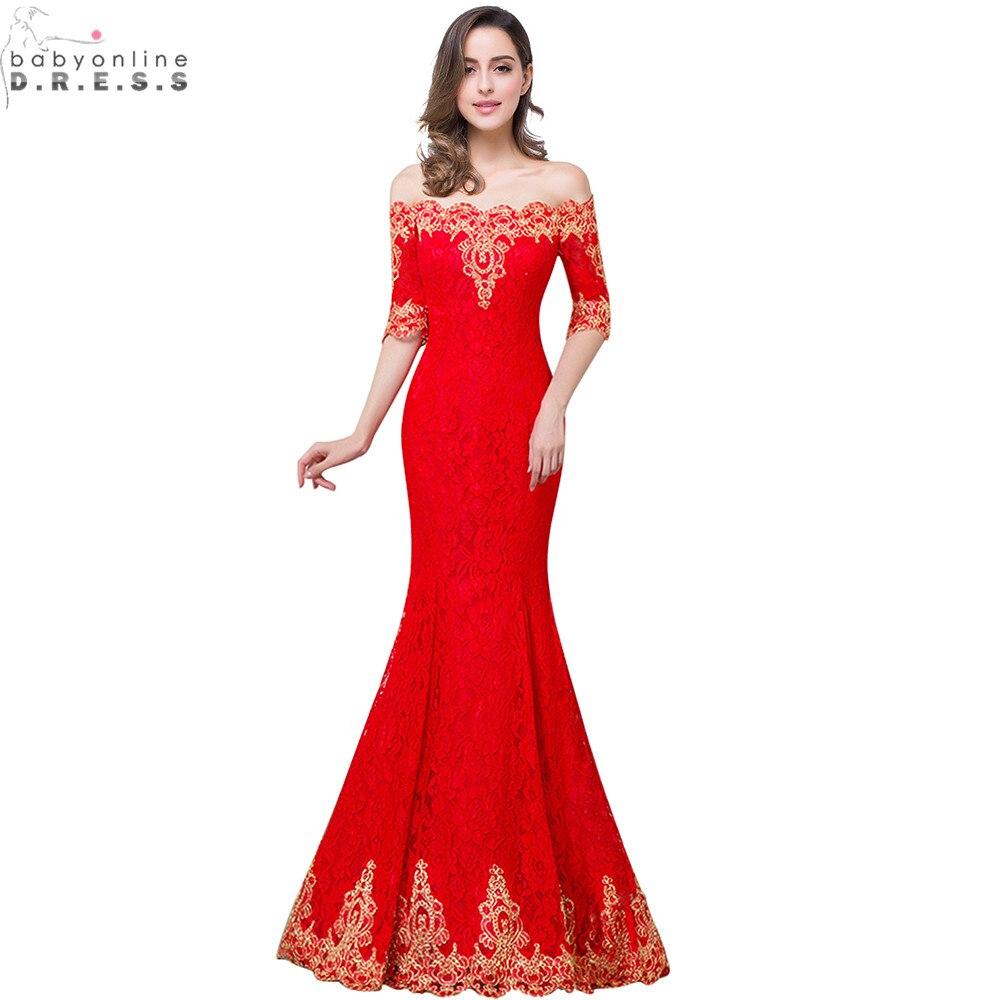 Hot Sale Gold Lace Appliques Red Mermaid   Prom     Dresses   Long Cheap Lace Half Sleeve   Prom     Dress   Vestido de Festa Longo