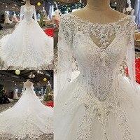 Princess High End Wedding Ball Gown 2018 Full Beaded Top Lace Appliqued Long Sleeve Royal Elegant Bride Formal Dress