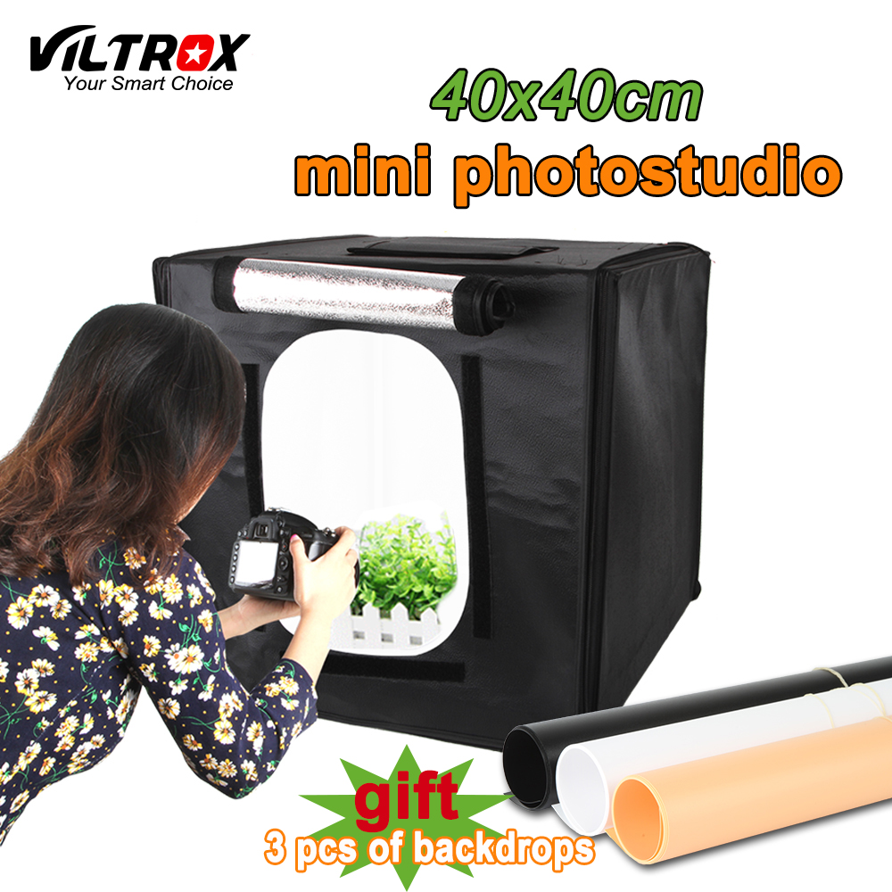 Viltrox 40*40cm Portable soft box lightbox Photo Studio light Box +LED Lamps Shooting Tent Kit For Canon Nikon Camera Smartphone 40cm 40cm studio soft box led shooting light tent photo led light box lichtbak photo tent set portable soft cloth 3 backdrop