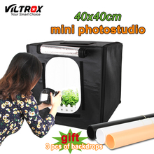 Viltrox 40*40 cm mesa de luz Portátil caixa macia Photo Studio light Box + Lâmpadas LED Tenda Tiro Kit Para Canon Nikon Câmera do Smartphone