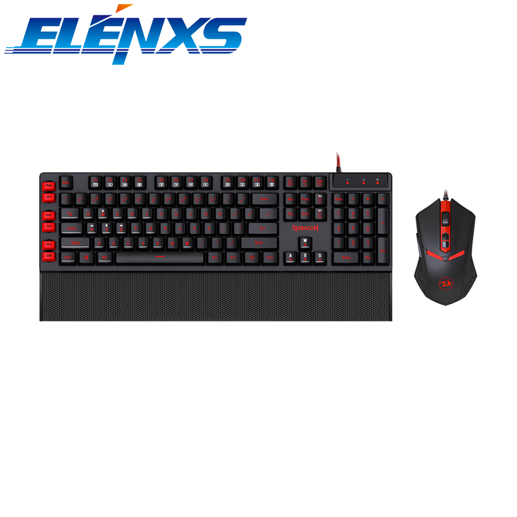 ELENXS Programmable USB Gaming Keyboard Mouse Combos Professional Standard 110 Keys Wired Keyboard Mouse Set for PC Computer ...
