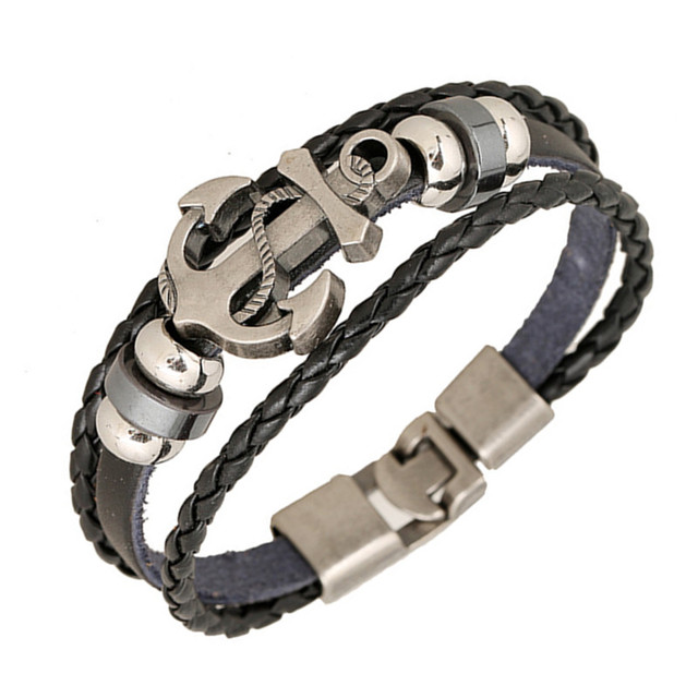 Stylish and Vintage Alloy Matched with Genuine Leather Braided Bangle and Vintage Beaded Bracelet