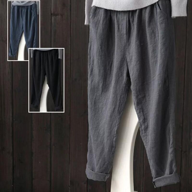 LADIES EX FAMOUS STORES JERSEY TAPERED CASUAL TROUSER BLUE MIX LOUNGE PANTS M/&5