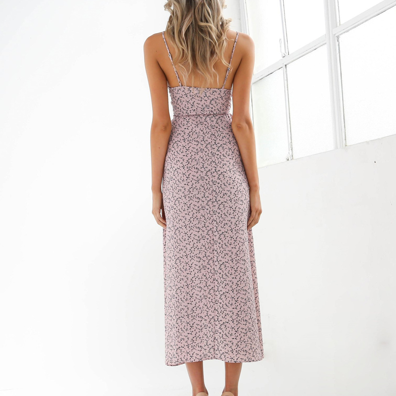 Floral Print Chiffon Long Dress 2020 Sexy V Neck Backless Boho Beach Dress Vestidos Women Split Summer Sundress Maxi Dress 2