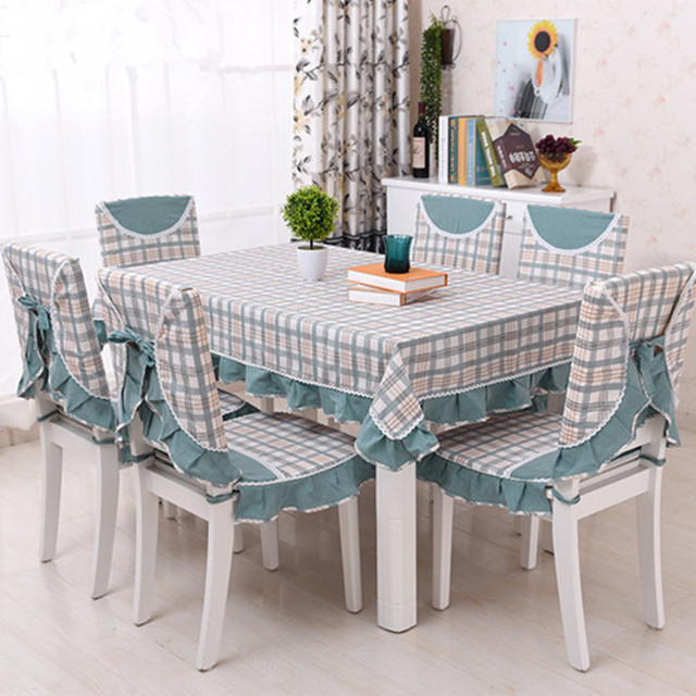 Grid tablecloth set dinning table cloth+ chair cover cushion modern blue  coffee red 150 200cm polyester cotton home party decor f02a56ef0ec8