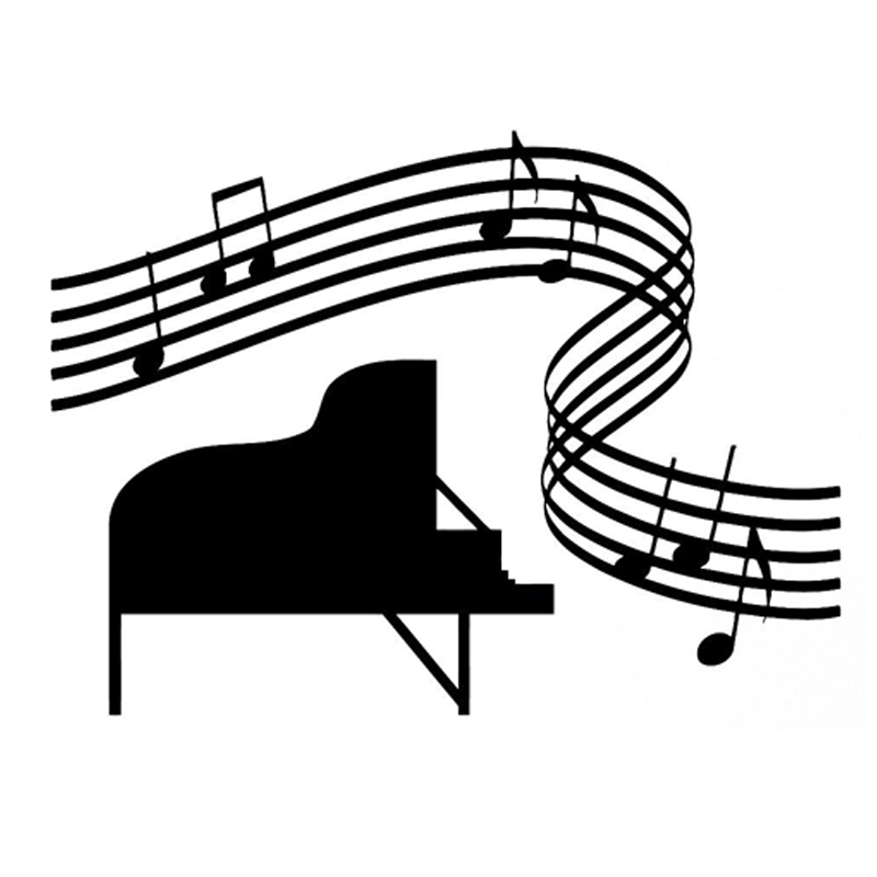 US $1 07 40% OFF|14 4CM*10 7CM Fashion Music Piano Sheet Music Silhouette  Decal Vinyl Car Sticker S9 0766-in Car Stickers from Automobiles &