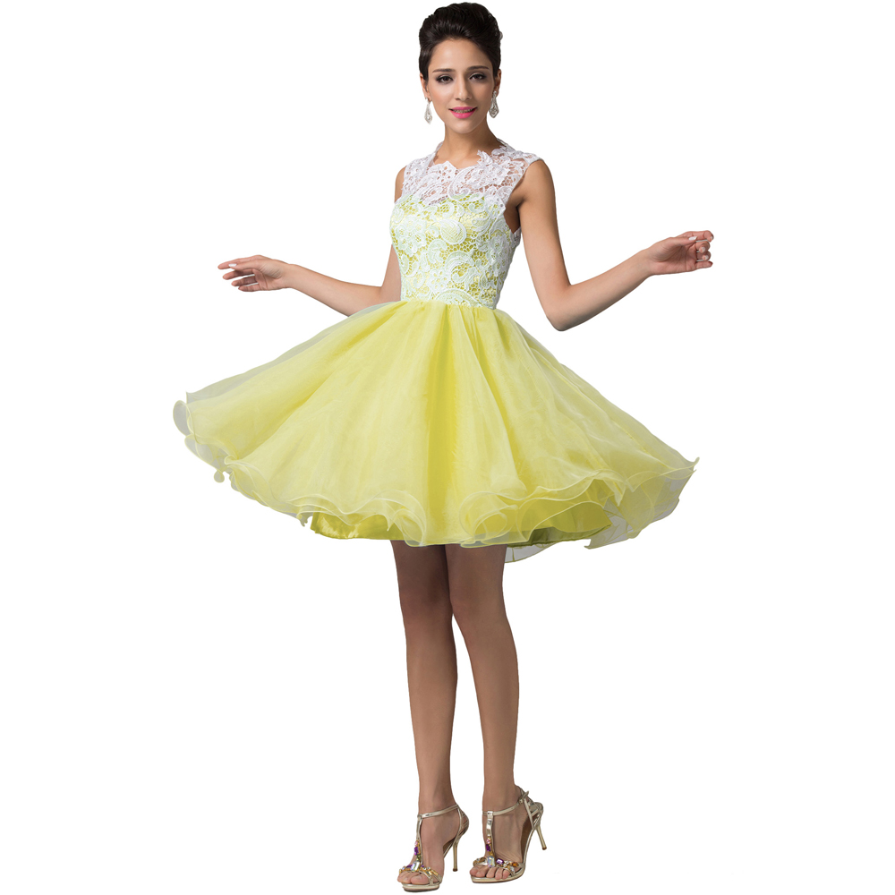 Short yellow tutu prom dresses