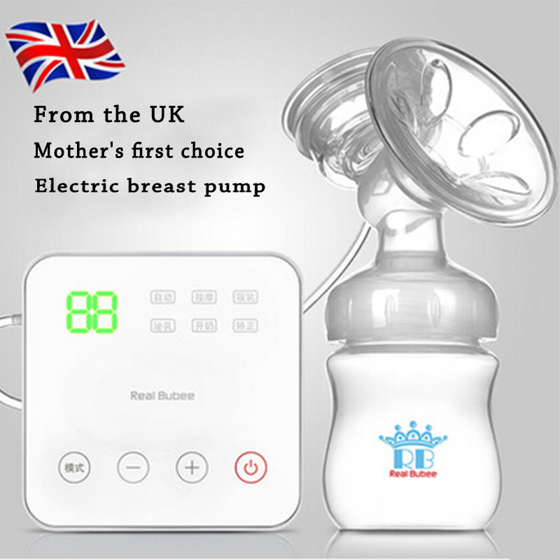 Real Bubee UK Hi-Q Electric brystpumpe Babyprodukter amning Intelligent USB Elektriske brystpumper Mælkeflaske 8006S